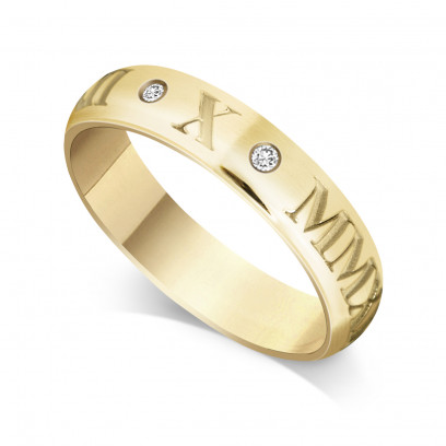 18ct Yellow Gold Gents 5mm Roman Numerical Court Shape Wedding Ring Set with 2 Diamonds in between the Roman Numericals with Date of your Choice