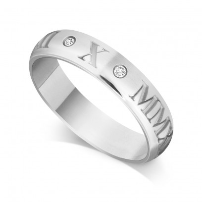 Palladium Gents 5mm Roman Numerical Court Shape Wedding Ring Set with 2 Diamonds in between the Roman Numericals with Date of your Choice