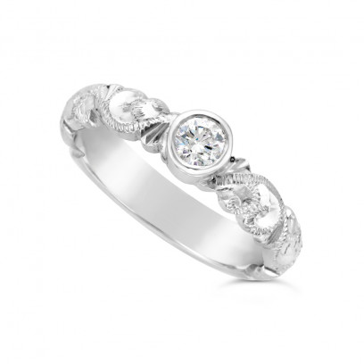 Ladies Palladium Hand Engraved Diamond Set Wedding Ring