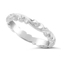 Ladies Palladium Hand Engraved Wedding Ring