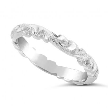 Ladies Palladium Hand Engraved Wedding Ring