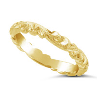 Ladies 18ct Gold Hand Engraved Wedding Ring