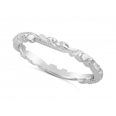Ladies Platinum Hand Engraved Wedding Ring