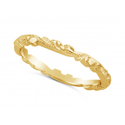 Ladies 9ct Gold Hand Engraved Wedding Ring