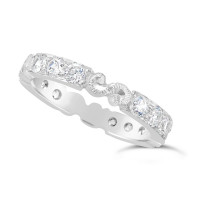 Ladies 9ct Gold Hand Engraved Diamond Set Wedding Ring