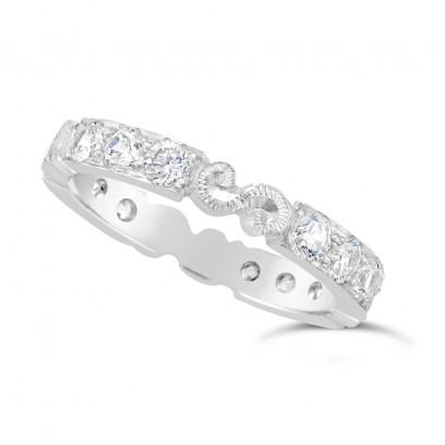 Ladies Platinum Hand Engraved Diamond Set Wedding Ring