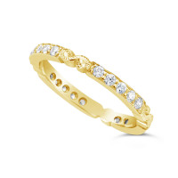 Ladies 18ct Gold Hand Engraved Diamond Set Wedding Ring