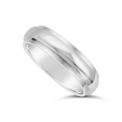5mm Court Wedding Band in 18ct White Gold With A Shiny Centre And A