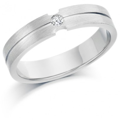 Ladies 4mm Palladium Ring with Shiny Centre Groove and Set with Single 4pt Round Diamond