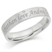 9ct White Gold Ladies 4mm Ring with 2 Engraved Names and Set with 1pt Diamond