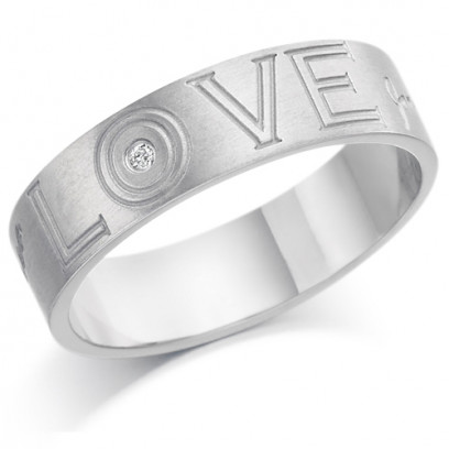 9ct White Gold Gents 6mm Ring Engraved with 'Love' and 2 Names and Set with 2pt Diamond