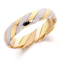 9ct Yellow and White Gold Gents 5mm Twisted Wedding Ring with Beading on the White Gold