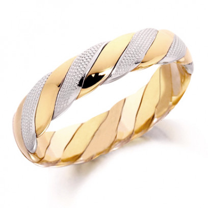 18ct Yellow and White Gold Gents 5mm Twisted Wedding Ring with Beading on the White Gold