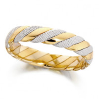 18ct Yellow and White Gold Ladies 4mm Twisted Wedding Ring with Beading on the White Gold