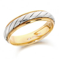 18ct Yellow and White Gold Gents 5mm Wedding Ring with Twisted Centre and Beaded Edges