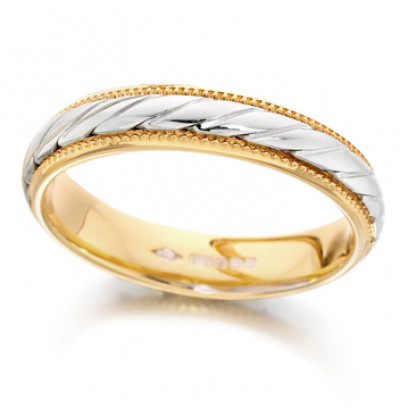 18ct Yellow and White Gold Ladies 4mm Wedding Ring with Twisted Centre and Beaded Edges
