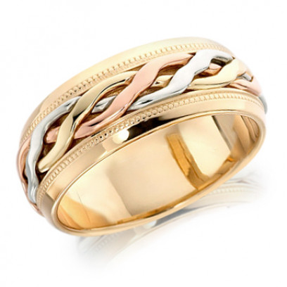 9ct 3 Colour Gold Gents 8mm Ring with Twisted Centre and Beaded Edges