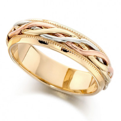 9ct 3 Colour Gold Ladies 6mm Wedding Ring with Twisted Centre and Beaded Edges