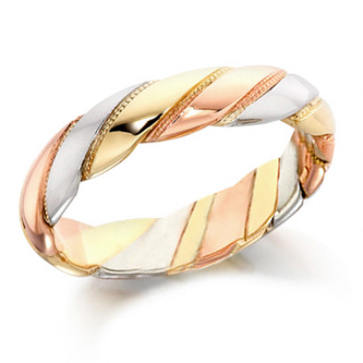 9ct 3 Colour Gold Gents 5mm Twisted Wedding Ring with Beaded Pattern Between Each Twist