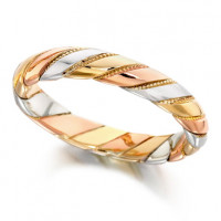 9ct 3 Colour Gold Ladies 4mm Twisted Wedding Ring with Beaded Pattern Between Each Twist