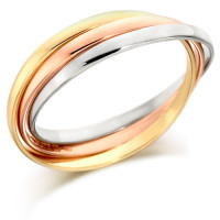 18ct 3 Colour Gold Ladies Russian Wedding Ring with 2mm Bands