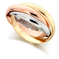 9ct 3 Colour Gold Ladies Russian Wedding Ring with 3mm Bands