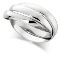 9ct White Gold Ladies Russian Wedding Ring with 3mm Bands