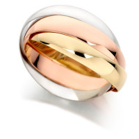 18ct 3 Colour Gold Ladies Russian Wedding Ring with 4mm Bands