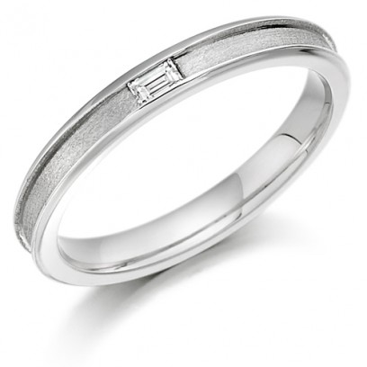 9ct White Gold Ladies 3mm Wedding Ring with Centre Groove and Channel Set with 6pt Baguette Diamond