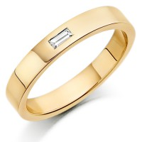 9ct Yellow Gold Ladies 3mm Wedding Ring with Single Baguette Diamond Weighing 3pts
