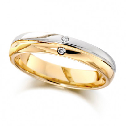 18ct Yellow and White Gold Ladies 4mm Wedding Ring with Grooved Centre and Set with 2 Diamonds, Total Weight 2pts