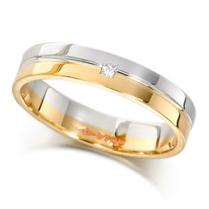 9ct Yellow and White Gold Ladies 4mm Wedding Ring with Grooved Centre and Set with a Single 2pt Princess Cut Diamond