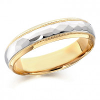 18ct Yellow and White Gold Gents 5mm Wedding Ring with Patterned and Beaded Centre