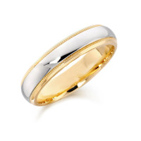 9ct Yellow and White Gold Gents 5mm Wedding Ring with Plain Centre and Beaded Edges