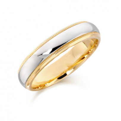 18ct Yellow and White Gold Gents 5mm Wedding Ring with Plain Centre and Beaded Edges