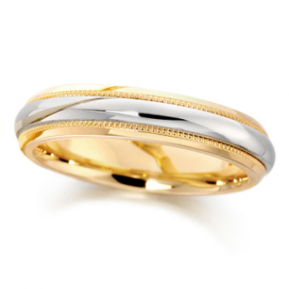 18ct Yellow and White Gold Ladies 4mm Wedding Ring with Plain Centre and Beaded Edges