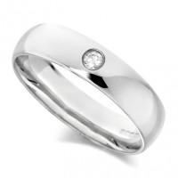 18ct White Gold Gents Plain 5mm Wedding Ring Set with Single 5pt Diamond