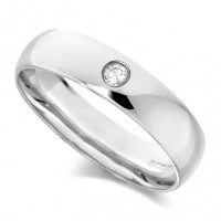 Platinum Gents Plain 5mm Wedding Ring Set with Single 5pt Diamond