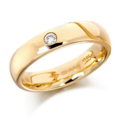 18ct Yellow Gold Ladies Plain 4mm Wedding Ring Set with Single 5pt Diamond