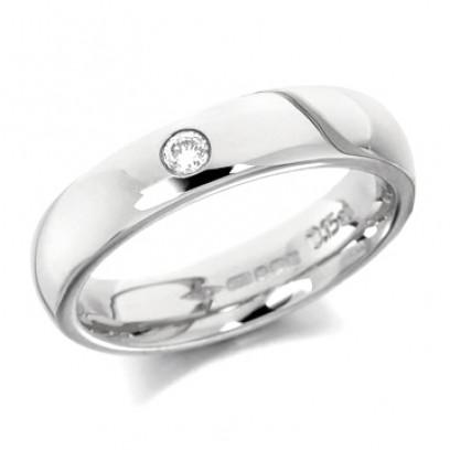 9ct White Gold Ladies Plain 4mm Wedding Ring Set with Single 5pt Diamond