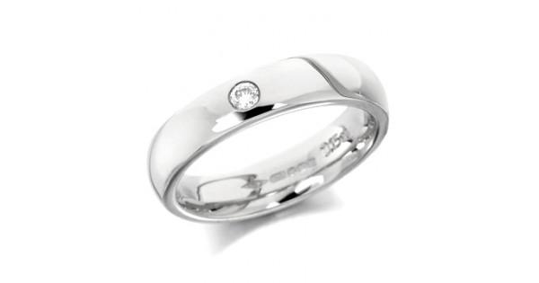 00ba15d3b1dcf 9ct White Gold Ladies Plain 4mm Wedding Ring Set with Single 5pt Diamond