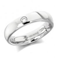 18ct White Gold Ladies Plain 4mm Wedding Ring Set with Single 5pt Diamond
