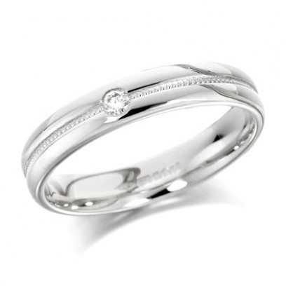 9ct White Gold Ladies 4mm Wedding Ring with Grooved and Beaded Centre and  Set with Single 5pt Diamond