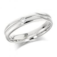 18ct White Gold Ladies 4mm Wedding Ring with Grooved and Beaded Centre and  Set with Single 5pt Diamond