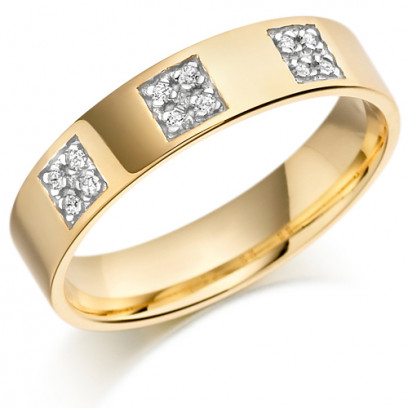 9ct Yellow Gold Gents 5mm Wedding Ring Set with 12pts of Diamonds in 3 Square Boxes