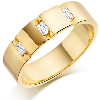 9ct Yellow Gold Gents 5mm Wedding Ring with 3 Channel Set Baguette Diamonds Weighing a Total of 24pts