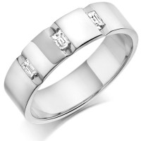 9ct White Gold Gents 5mm Wedding Ring with 3 Channel Set Baguette Diamonds Weighing a Total of 24pts
