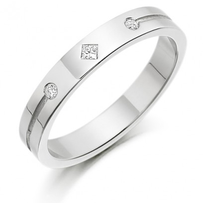 9ct White Gold Ladies 3mm Wedding Ring Set with a Princess Cut and 2 Round Diamonds Weighing a Total of 4pts
