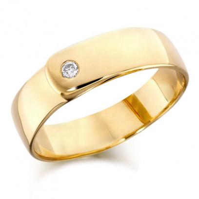 18ct Yellow Gold Gents 7mm Wedding Ring Set with Single 7pt Diamond