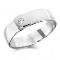 9ct White Gold Gents 7mm Wedding Ring Set with Single 7pt Diamond